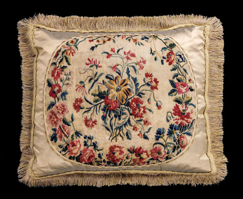 Cushion: Late 18th Century, Wool with a Central Bouquet of Flowers
