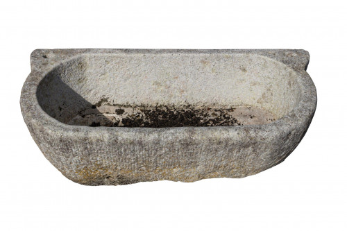 Marble Bath. 19th Century. Oval Ended. 44 Inches Long