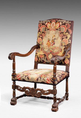 17th Century Style Chair with Grosse Point Needlework