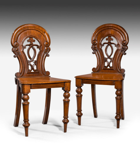 Pair of Early Victorian Period Hall Chairs