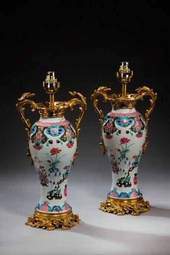 Pair of 18th Century Canton Porcelain Vase Lamps
