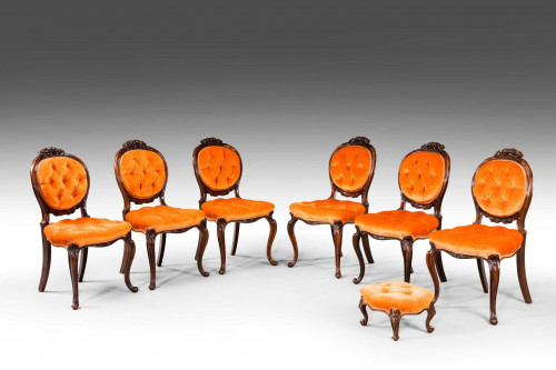 Six Mid 19th Century Rosewood Single Chairs and a Stool