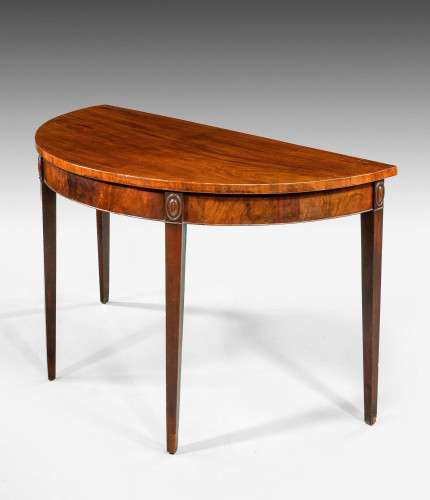 George III Period Mahogany Demilune Serving Table.