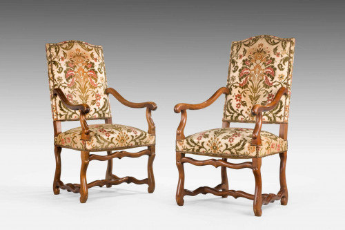 Pair Of Beech Wood 17th Century Design Armchairs
