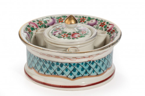 Early 20th Century Continental Porcelain Inkwell
