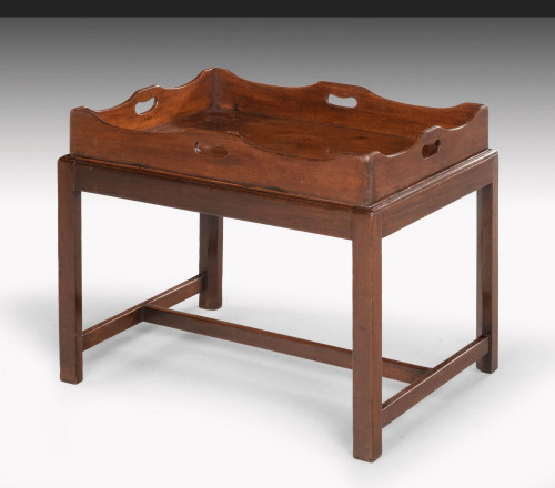 George III Period Mahogany Tray with a Shaped and Swept Border