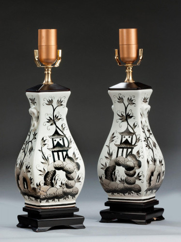Pair of Ebonised Painted Lamps