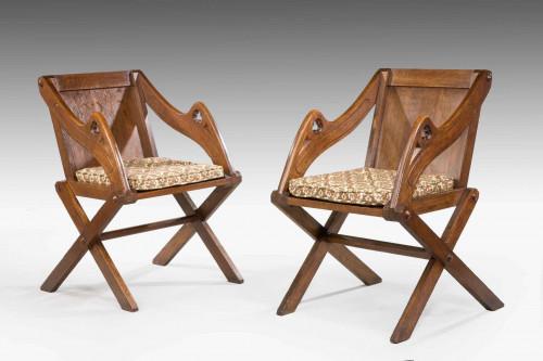 Pair of Late 19th Century Oak Glastonbury Armchairs