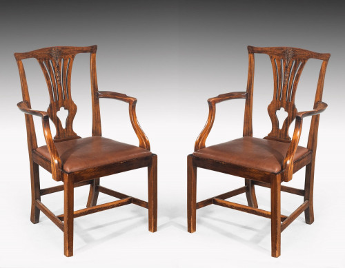 Pair of George III Mahogany Elbow Chairs with Prince of Wales Feathers