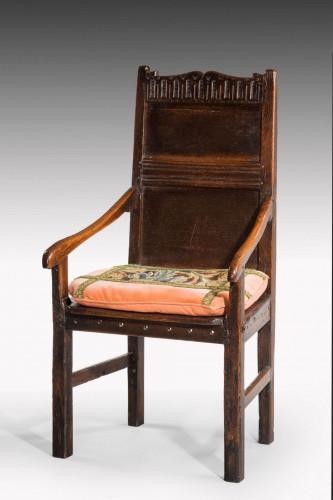 Mid 17th Century Oak Panel Backed Armchair