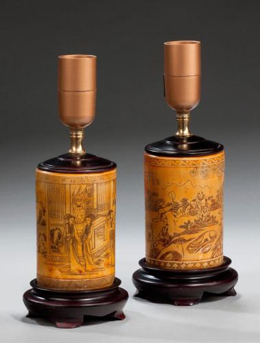 Pair of Ivorine Ground Lamps