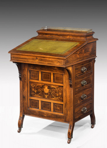 Late 19th Century Rosewood Davenport Desk with a Marquetry Panel