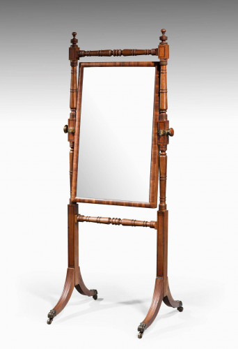 George III Period Mahogany Cheval Mirror