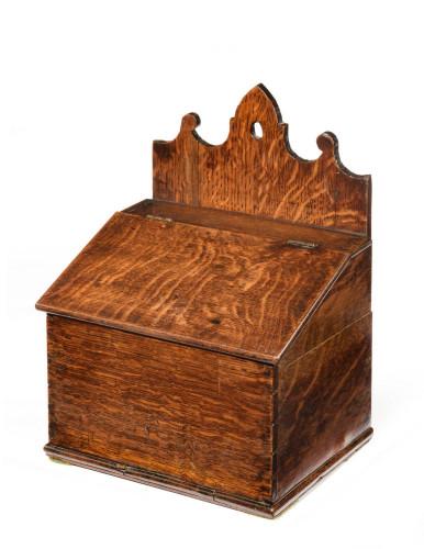 Mid 18th Century Oak Salt Box with a Shaped Hanging Arrangement