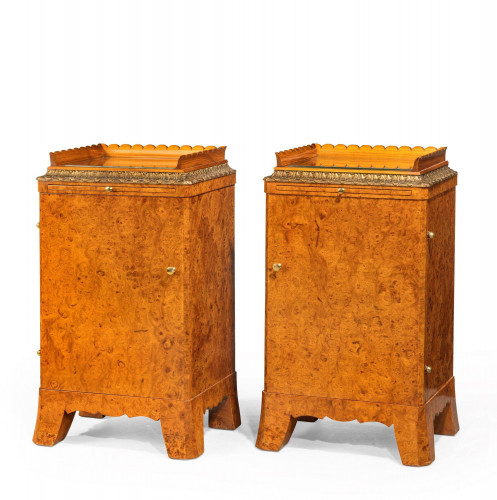 Pair of Early 20th Century Burr Amboyna Cupboards Incorporating a Slide