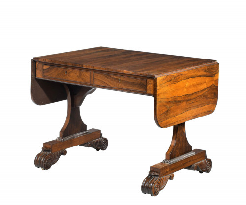 Regency Period Goncalo Alves Sofa Table on Sledge Supports