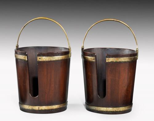 Pair of George III Period Mahogany Plate Buckets