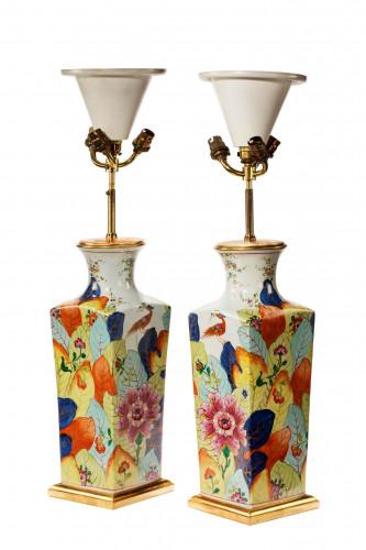 Pair of late 20th century square oriental vase lamps