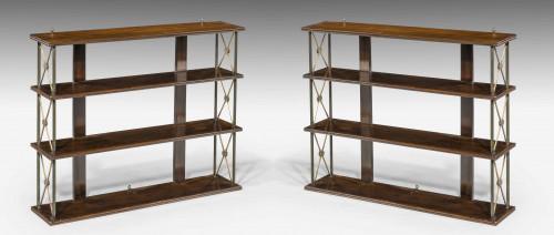 Pair of 19th Century Mahogany and Bronze Hanging Shelves