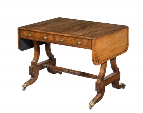 Regency period rosewood sofa table with fine line inlay