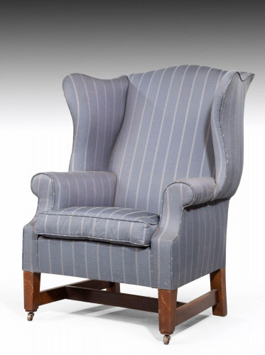 Mahogany Framed Wing Chair with Finely Shaped Serpentine Ears
