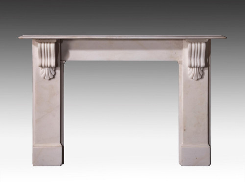 Late 20th Century White Marble Fireplace