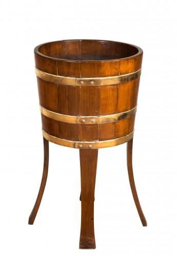Early 20th Century Walnut Brass Bound Circular jJrdinière