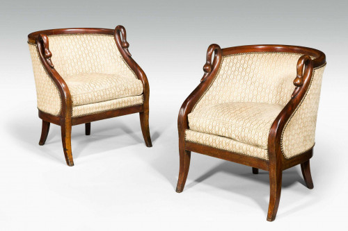 Pair of Mid 19th Century Mahogany Framed French Armchairs