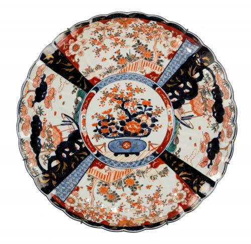 Mid 19th Century Imari Charger with Lobe Edge Decoration