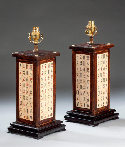 Pair of Late 20th Century Oak Square Section Lamps