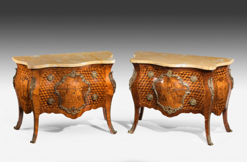 Pair of 18th Century Style Walnut Commodes