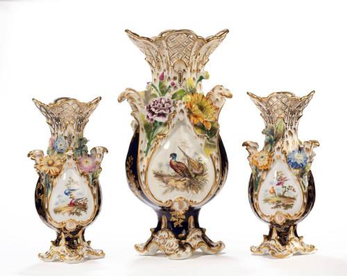 Late 19th Century Trio of Coalport Coalbrookdale Vases
