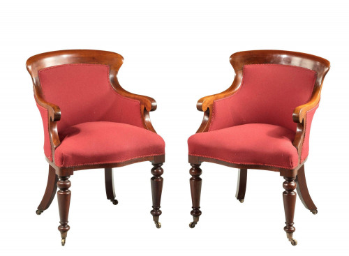 Pair of Early Victorian Period Mahogany Framed Chairs