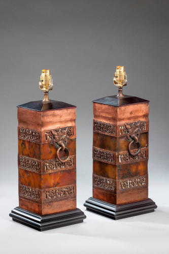 Pair of Bronze Finish Pottery Lamps