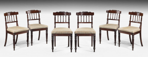 Set of Six Regency Period Rosewood Single Chairs
