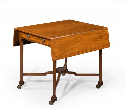 Chippendale Period Satin Mahogany Pembroke Table