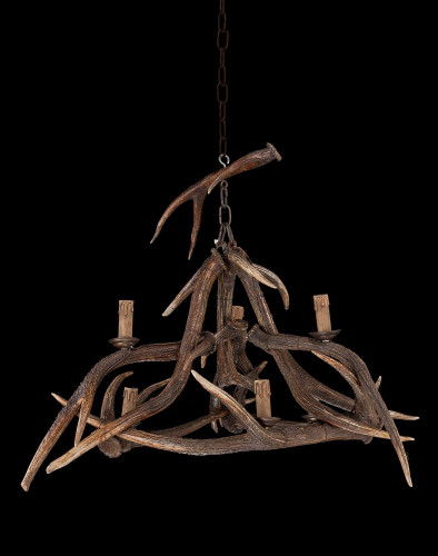 Early 20th Century Stag's Horn, Six Light Chandelier