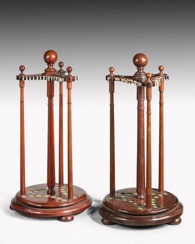 Pair of 19th century mahogany snooker cue holders