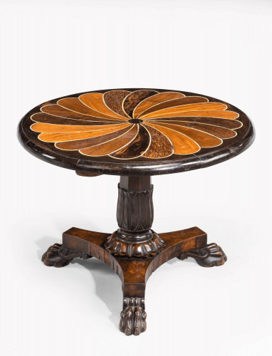 An Anglo-Portuguese 19th Century Inlaid Table with Exotic Timbers