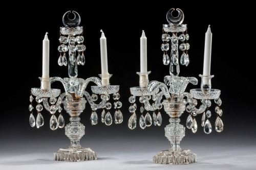 Pair of Late Regency Cut Glass Candelabra