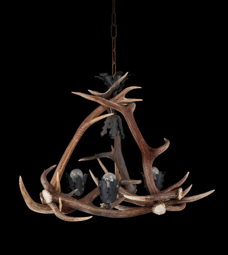 Early 20th Century Stag's Horn, Four Light Chandelier.