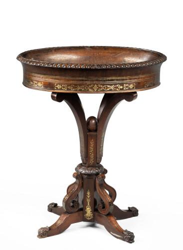 Oval Brass Jardinière Table