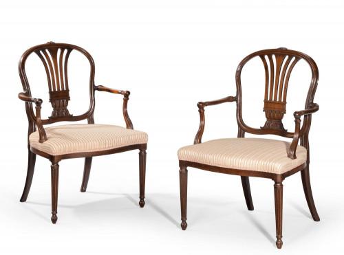 Pair of George III Period Mahogany Elbow Chairs by Robert Mainwaring