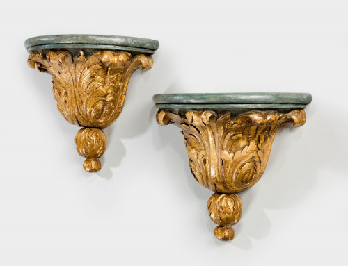 Pair of Gilded and Parcel Gilded Brackets