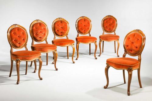 Set of Six 19th Century Satin Birch Dining Chairs