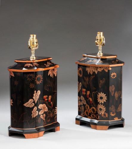 Pair of Black Ground 'Tea Jar' Lamps