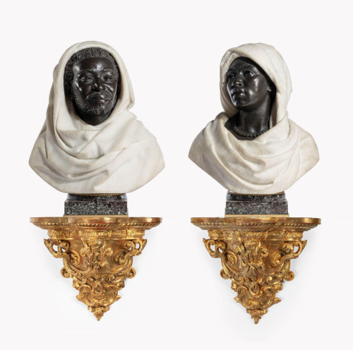 A Pair of Late 19th Century Nubian Figures by Caccia and Dasson