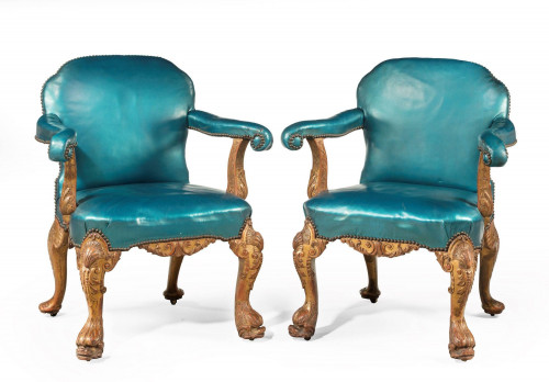 A Pair of 19th Century Giltwood Armchairs by Morant and Co