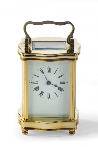 A Brass Carriage Timepiece, Serpentine Form, Unsigned, 20th Century