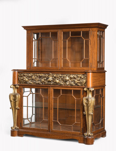 Mid 19th Century Satinwood Cabinet with Elaborate Giltwood Decoration